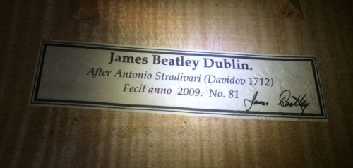 Cello by James Beatley, Dublin 2009  for sale at Bridgewood and Neitzert London
