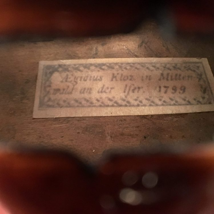 Violin attributed to Aegidius Sebastian Klotz, Mittenwald 1799. for sale at Bridgewood and Neitzert London