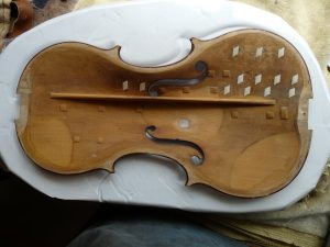 Nicolo Amati baroque conversion repairs to the belly