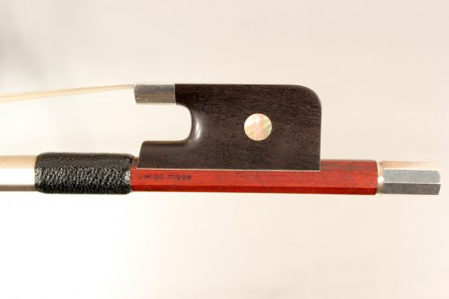 Cello bow 4/4 stamped W. Ernst, round stick, silver mounted for sale at Bridgewood and Neitzert London