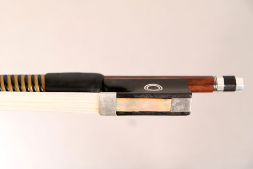 Violin bow by Garner Wilson round stick, silver Mounted for sale at Bridgewood and Neitzert London